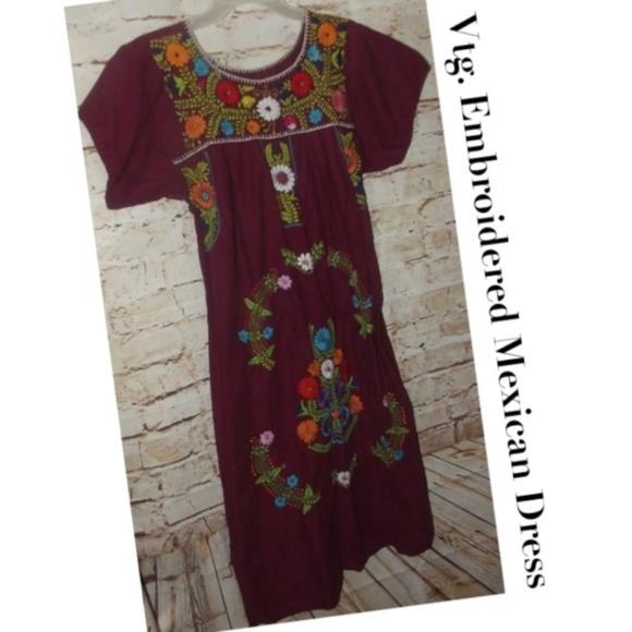 Vintage Dresses Vtg Hand Embroidered Mexican Peasant Dress Poshmark